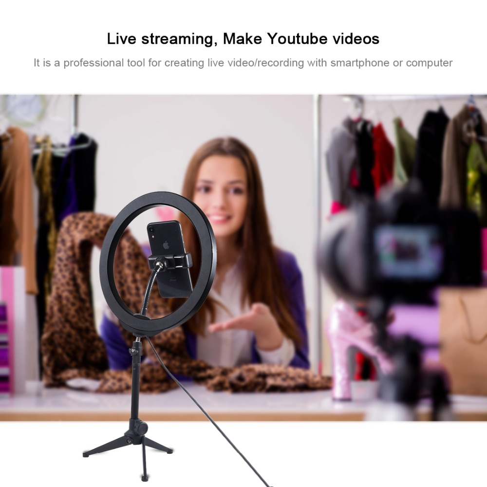PULUZ PU397 10 Inch 3200K-6500K Dimmable LED Video Ring Light with Phone Clip for Selfie Vlog Tik Tok Youtube Live Streaming
