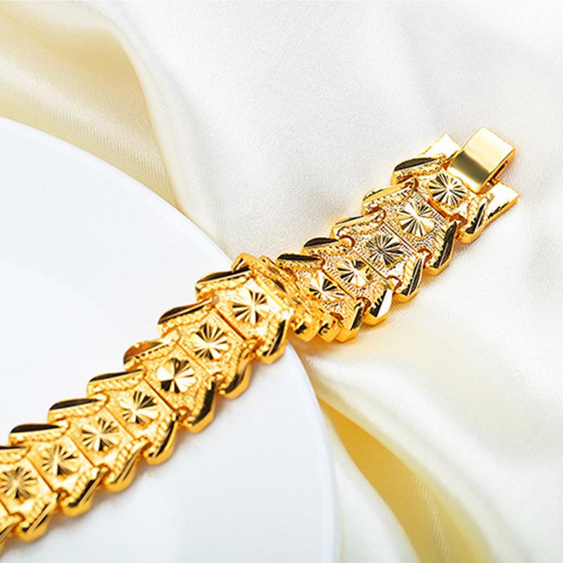18K Gold Plated Flower Shape Male Bracelet