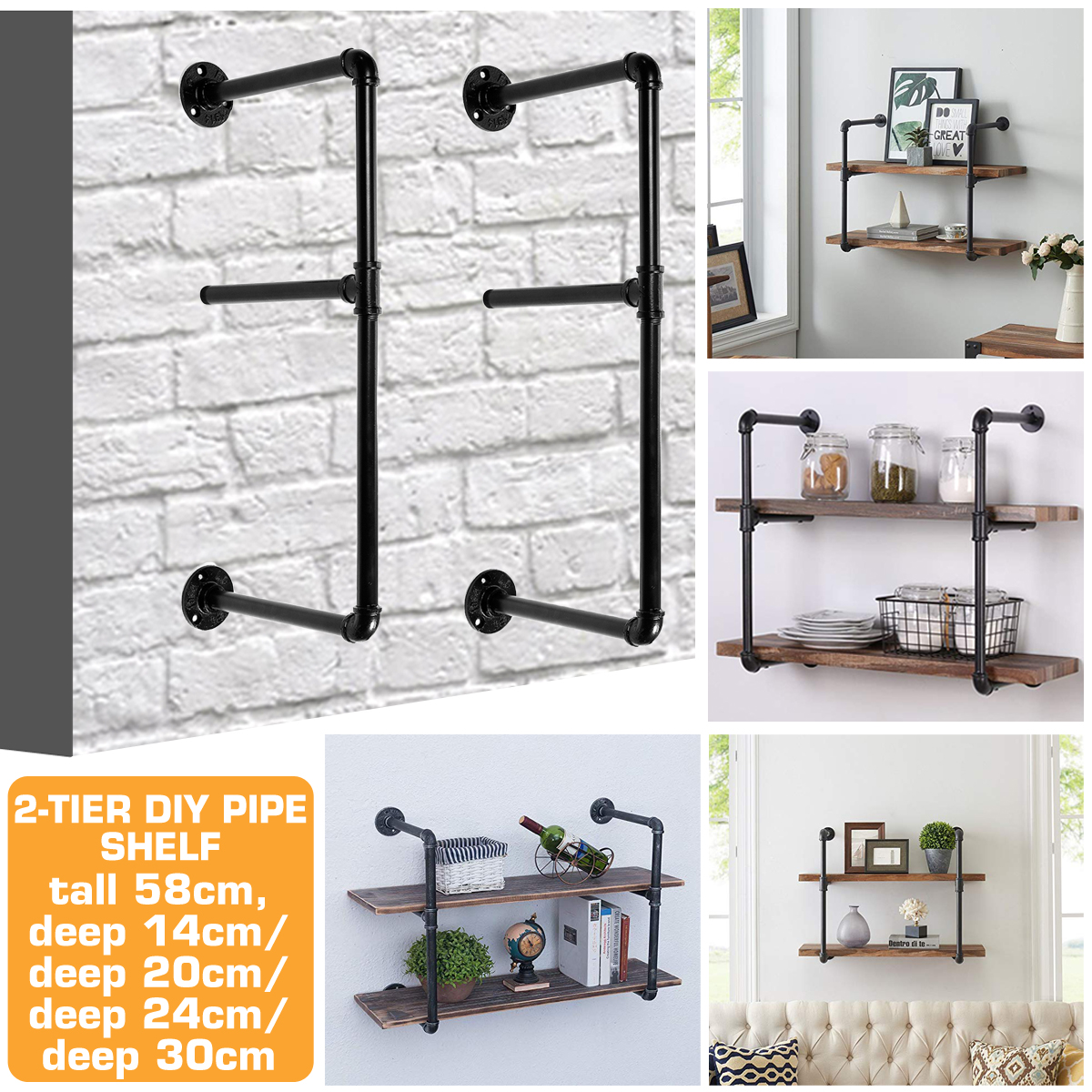 Bookshelf 2 tiers Storage Iron Shelf Rack 15/20/25/30cm Wide Organizers Modern Craft Iron Design DIY Pipe Shelf For Home Office Study Bedroom Lving room