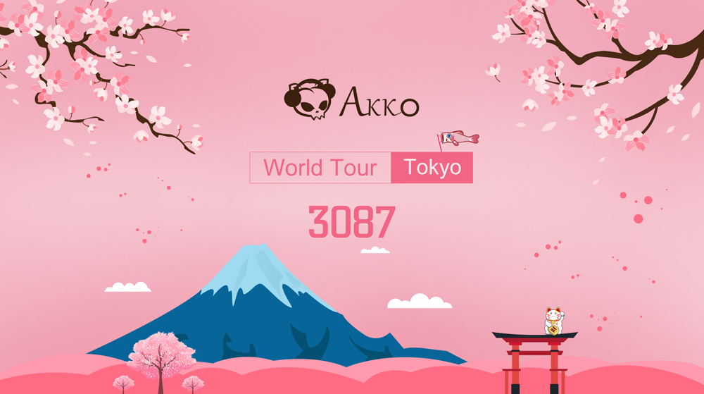 Akko 3087 World Tour - Tokyo 68 Keys bluetooth 3.0 USB the Sublimation Huano Switch PBT Keycaps Mechanical Gaming Keyboard for PC Laptop