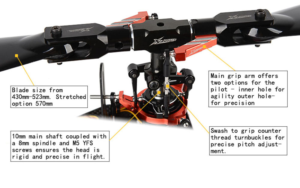 XLPower 520 XL520 FBL 6CH 3D Flying RC Helicopter Super Combo With 1100KV Motor 120A V4 ESC KST Digital Servos - Photo: 2