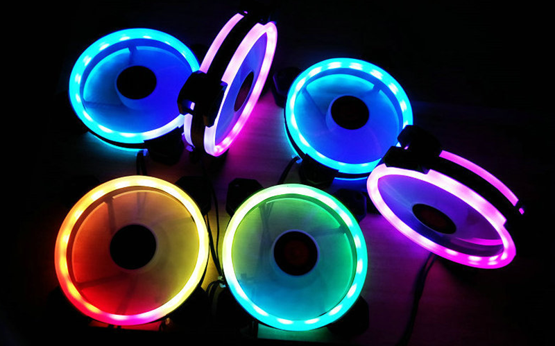Coolmoon 6PCS Adjustable RGB LED Light Computer Case PC Cooling Fan With The Remote Control