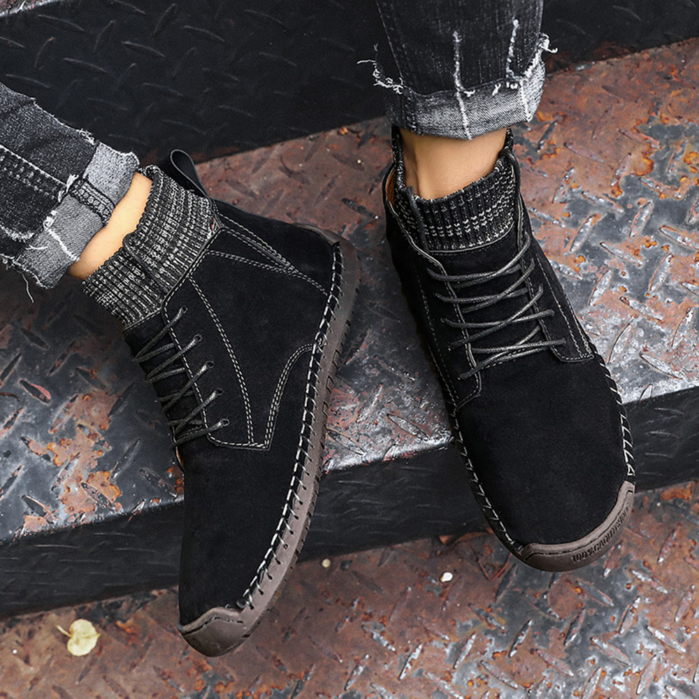 Sock Mouth Leather Spicing Stylish Ankle Boots