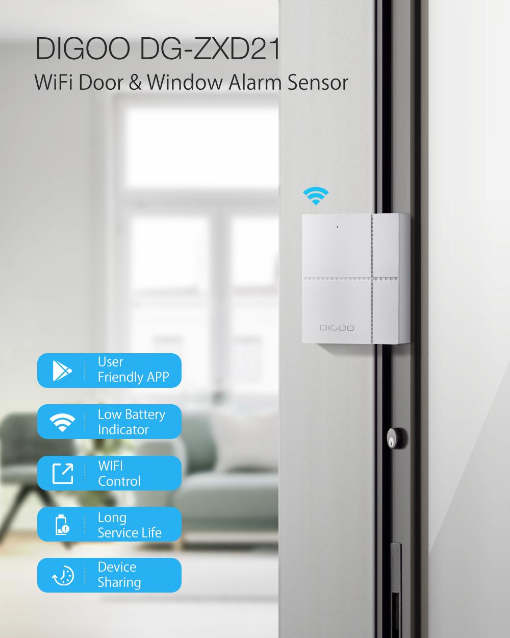 DIGOO DG-ZXD21 Independent WIFI Door & Window Sensor Detection Smart Home Security System Kits