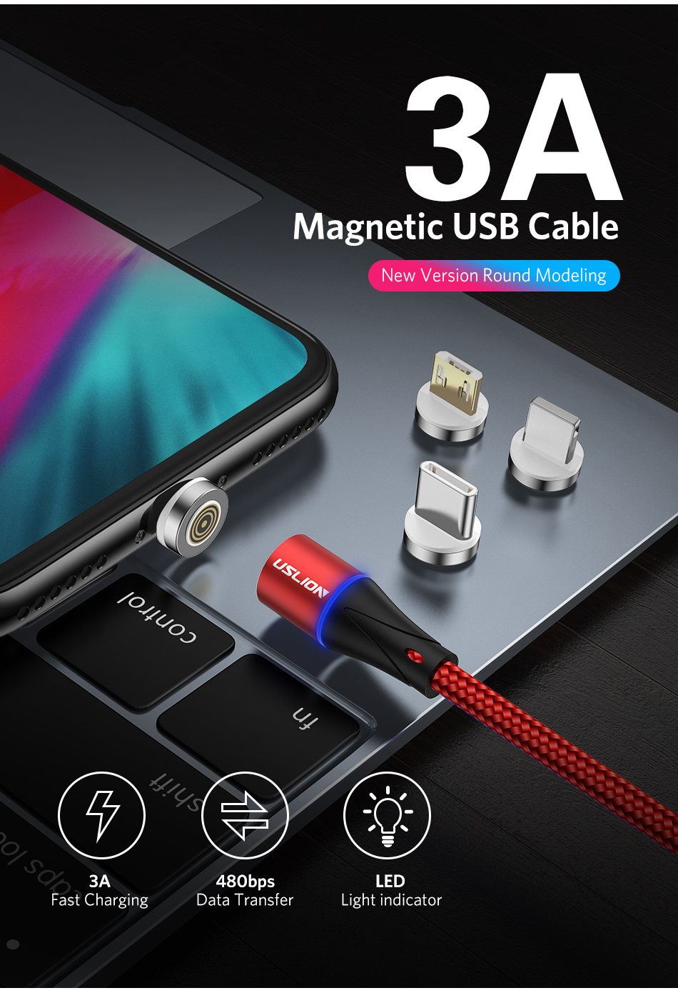USLION 3A LED 360 Degree Rotate QC3.0 Magnetic Fast Charging Type-C Micro USB Data Cable 1M for Samsung S10+ S9 Xiaomi 9T Redmi Note8 HUAWEI P30Pro