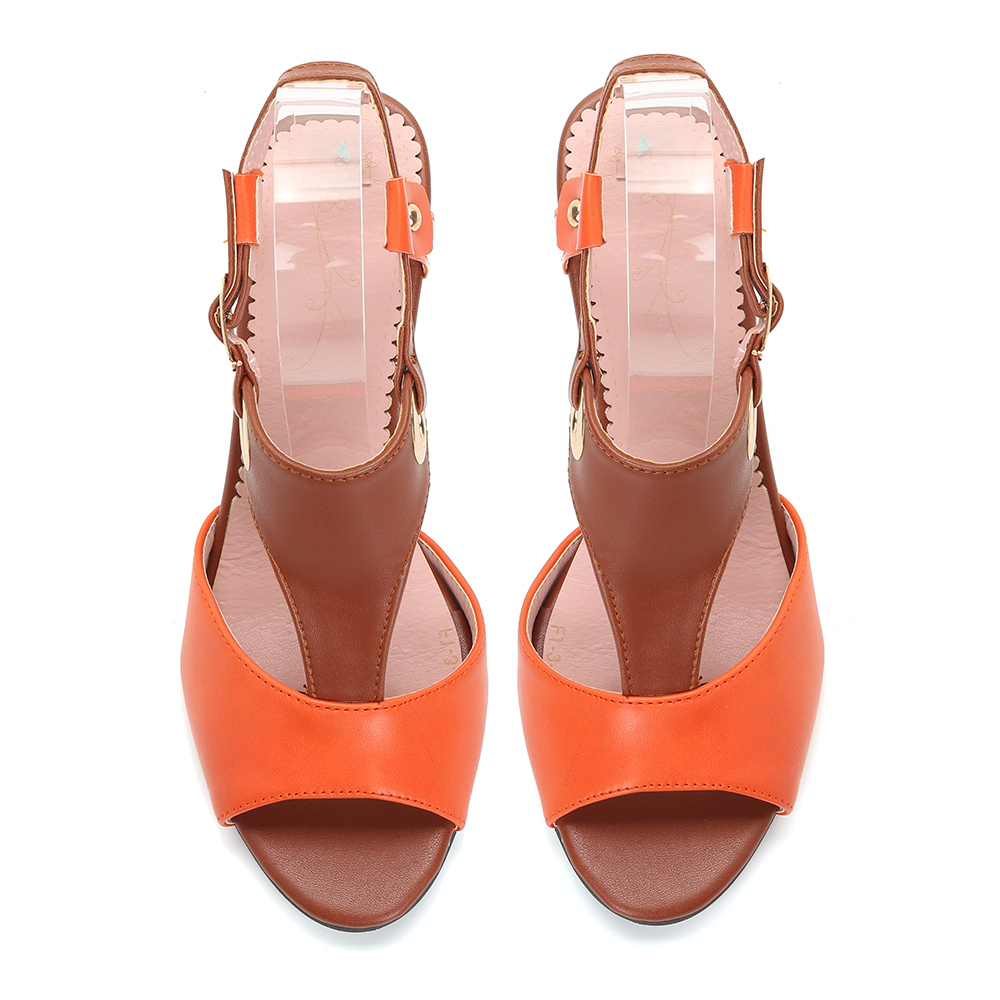 Women Plus Size Color Splicing Summer Casual Heeled Sandals