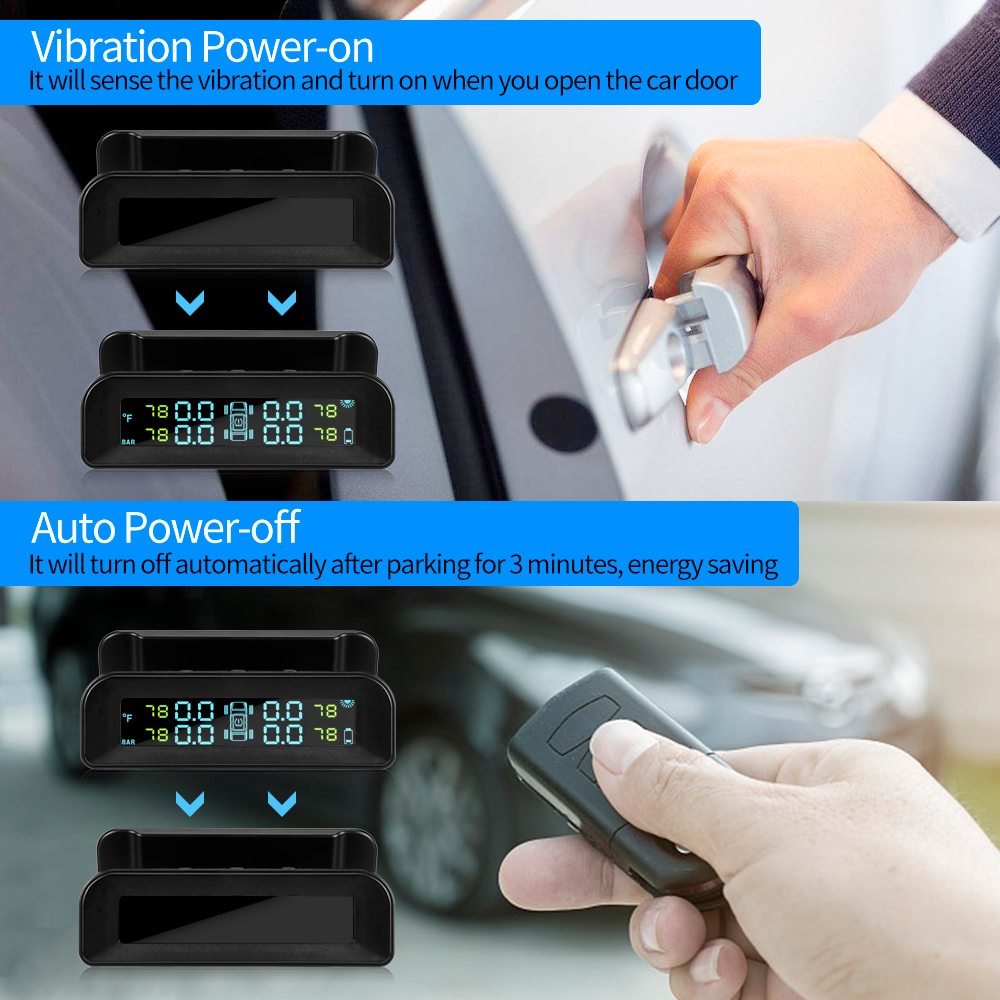 Universal C260 TPMS Solar Tire Pressure Monitor System Real-time Tester LCD Screen with 4 External Sensors