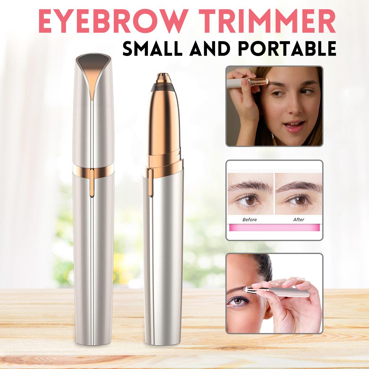 Painless Eyebrow Hair Remover Portable Eyebrow Trimmer Razor Lipstick-Sized Eyebrow Epilator Facial Hair Shaver