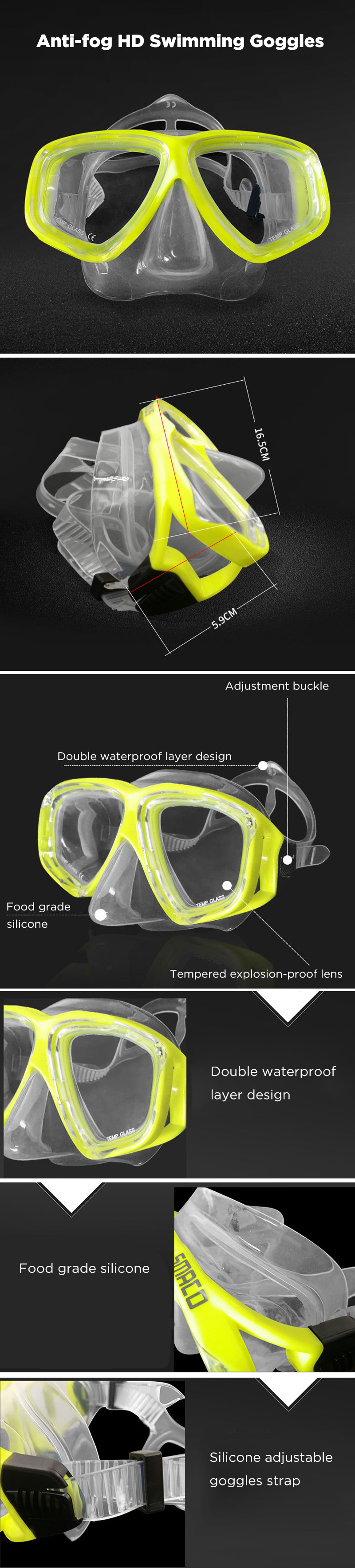 SMACO Swimming Goggles Anti-fog HD Snorkeling Goggles Swimming Water Sport Accessories