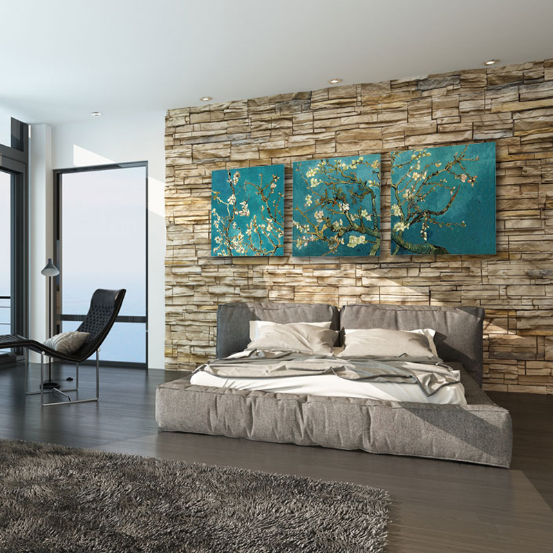 Miico Hand Painted Three Combination Decorative Paintings Botanic Flower Wall Art For Home Decoration