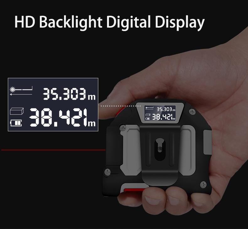 2 in 1 40M+5M Laser Range Finder Electronic Tape Measure Laser Measurement Intelligent Tape Measure Multi-function High-precision Digital Display Range Finder Distance Meter