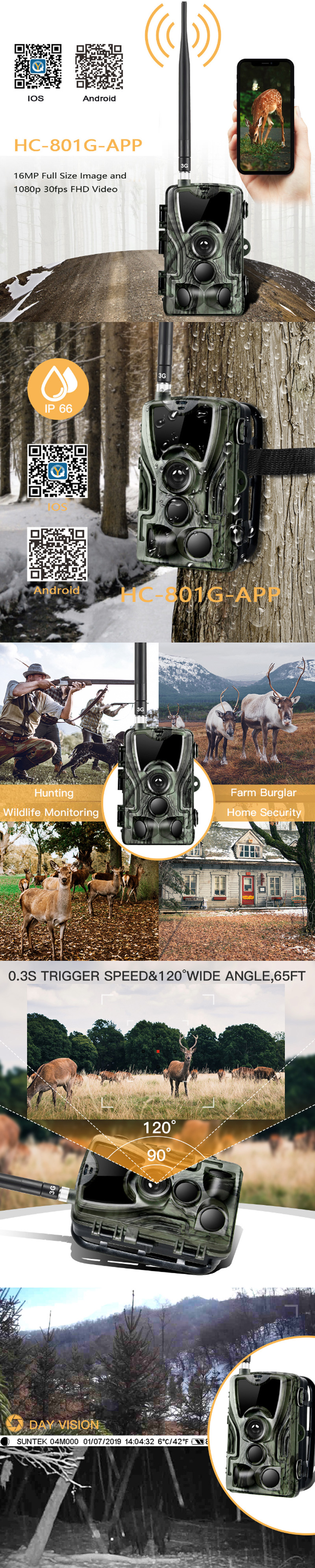 KALOAD HC-801G-APP 1080P Hunting Camera Waterproof HD Infrared Scouting Wildlife Night Vision Trail Camera