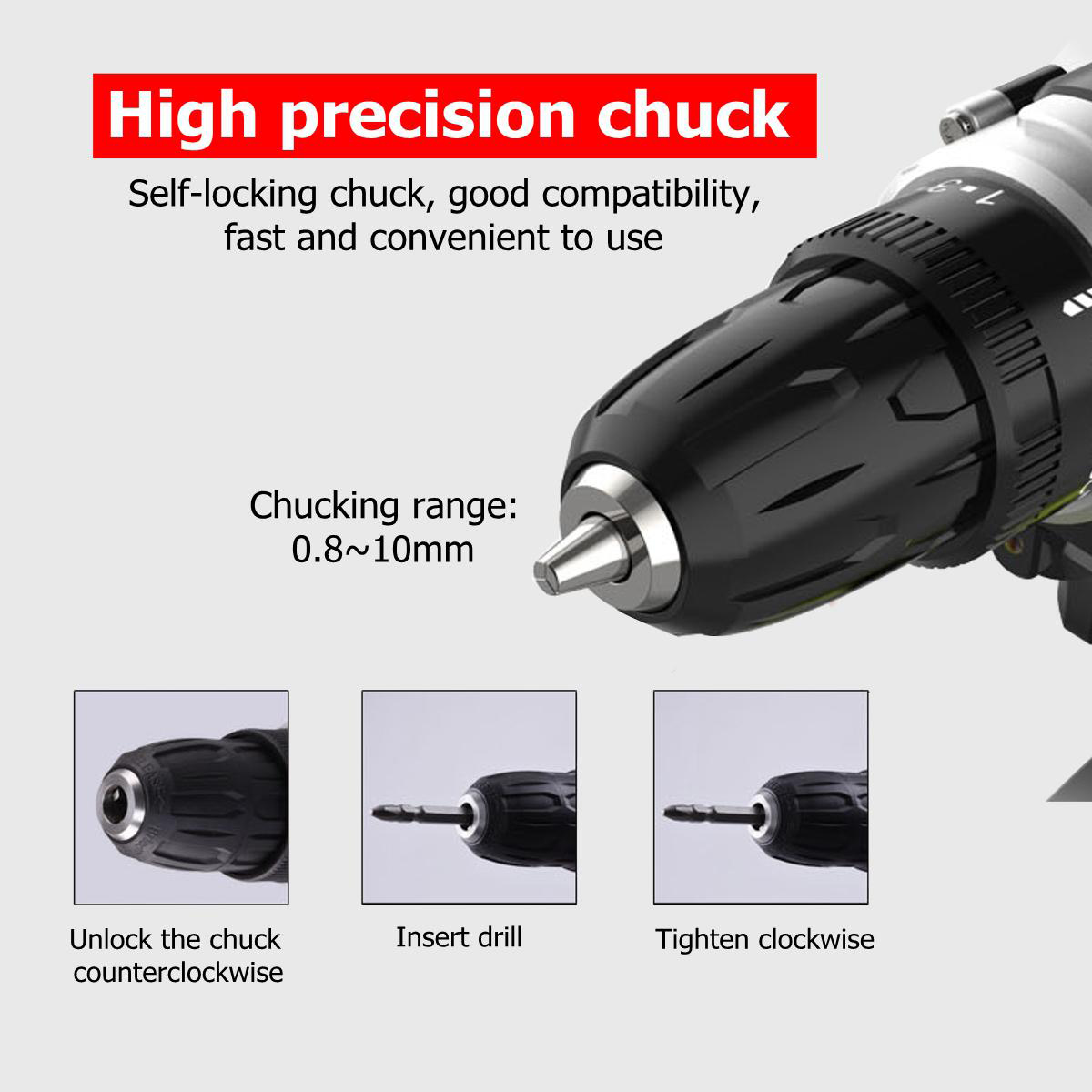 48VF Cordless Impact Lithium Electric Drill 2 Speed Electric Hand Drill LED lighting 1/2Pcs Large Capacity Battery 25+1 Torque Rechargable Screw Driver Drill