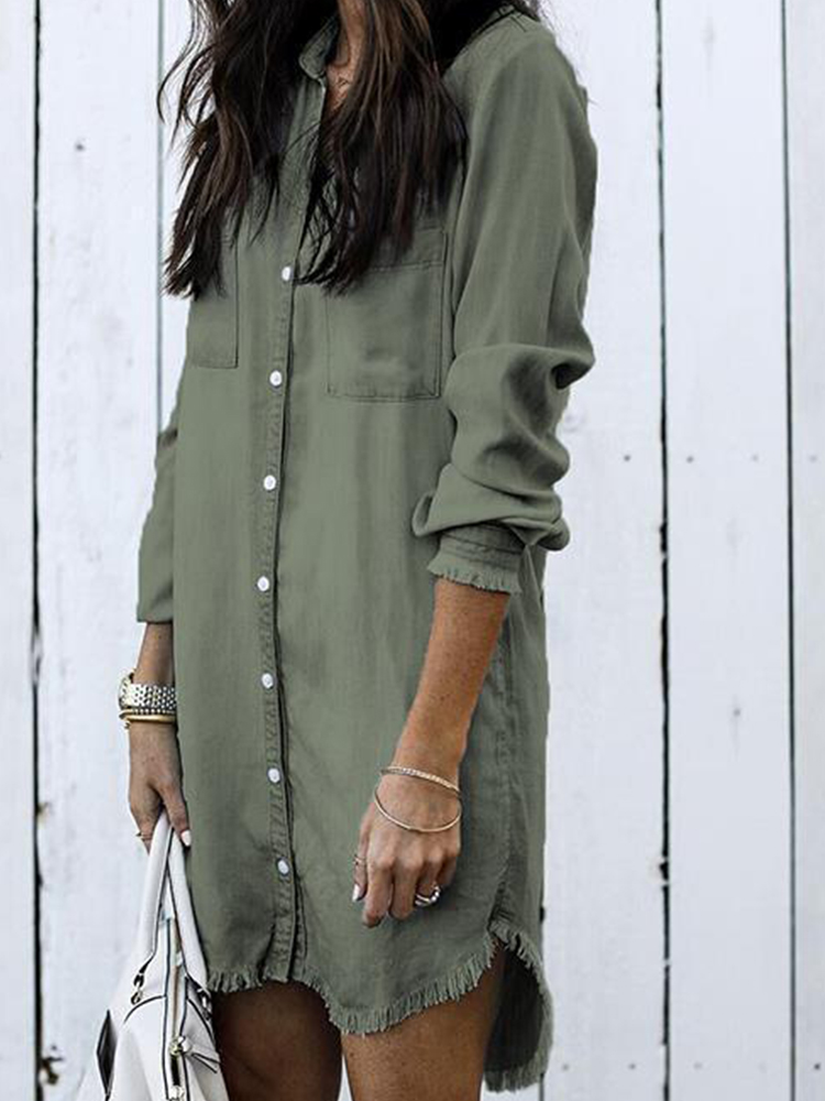 Casual Solid Color Button Long Sleeve Denim Blouse