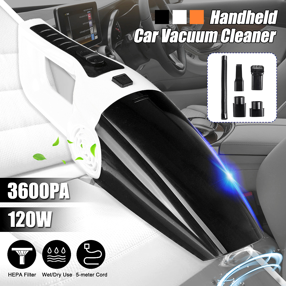 3600PA 40000r/min 120W DC 12V Wet and Dry Corded 5m Cable Car Vaccum Cleaner