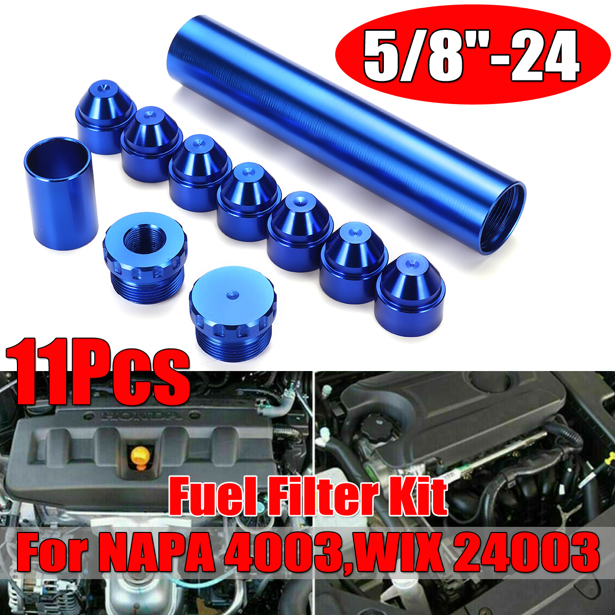 11pcs Blue 5/8inch-24inch Fuel Filter Kit Aluminum Fit For NAPA 4003 WIX 24003