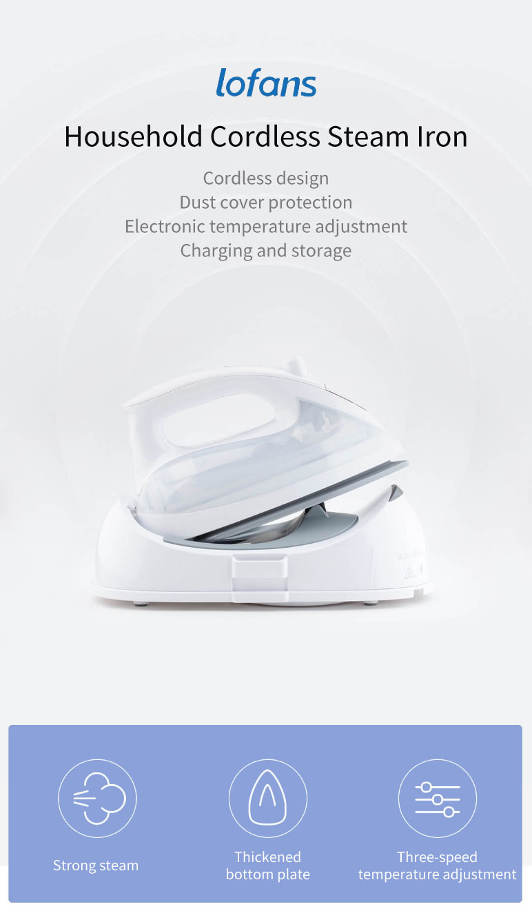 Lofans YPZ-7878 1300W Household Cordless Steam Iron Strong Steam Electronic Temperature Adjustment Electric Iron from Xiaomi Eco-system White