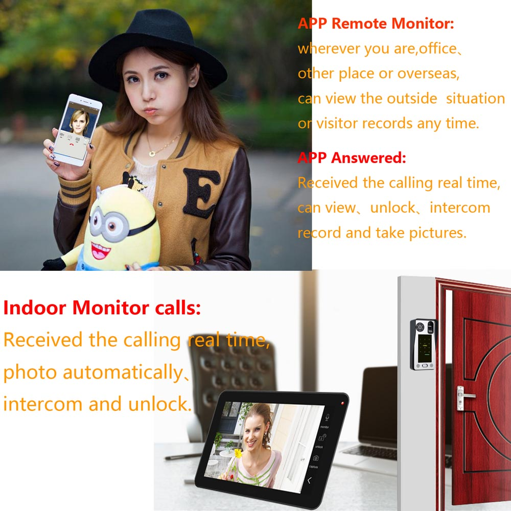 10 inch 2 Monitors Wired Wifi Fingerprint IC Card Video Door Phone Doorbell Intercom System with AHD 720P Door Access Control System,Support Remote APP Unlocking,Recording