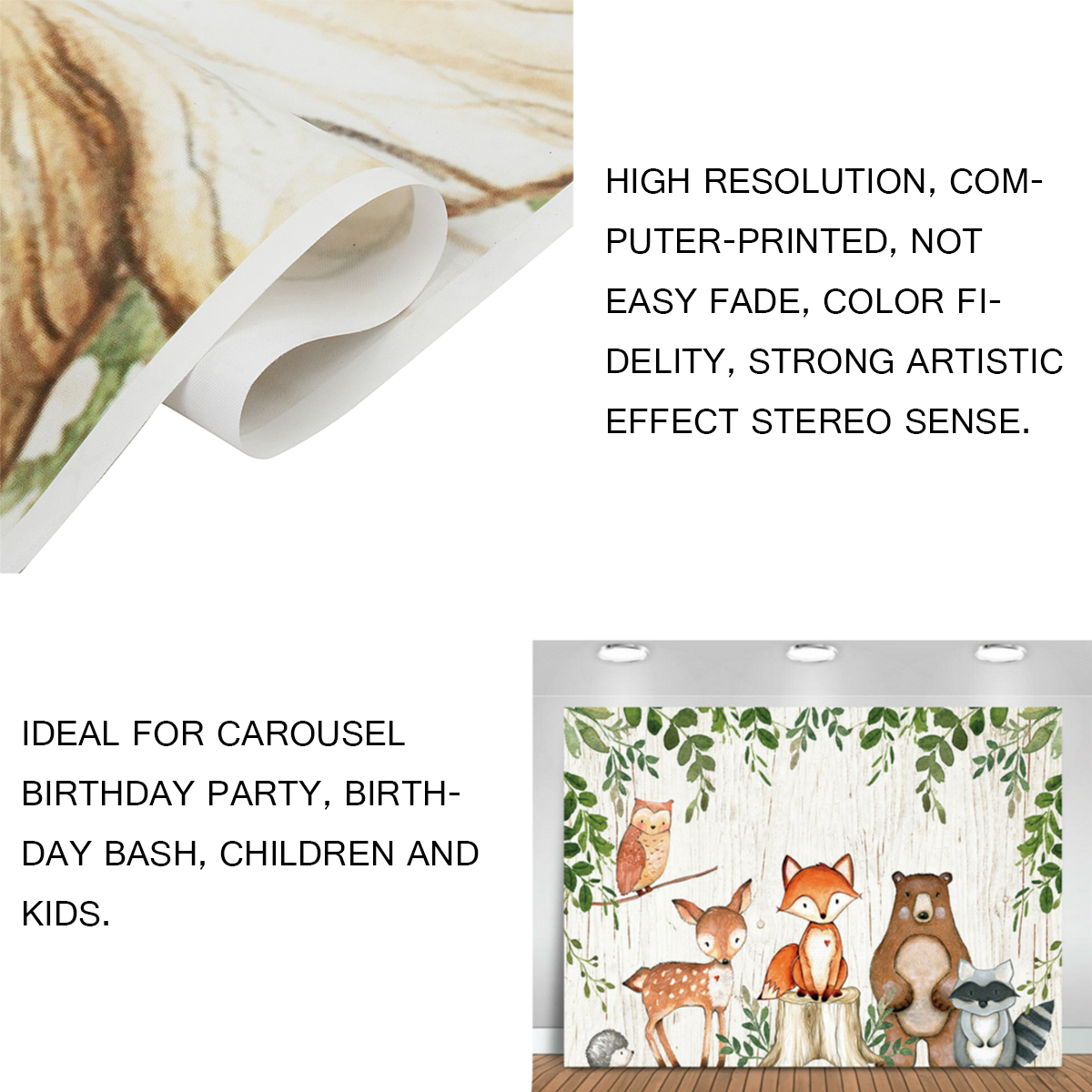 Baby Photography Backdrop Woodland Animals Birthday Party Background Prop Vinyl Decorations