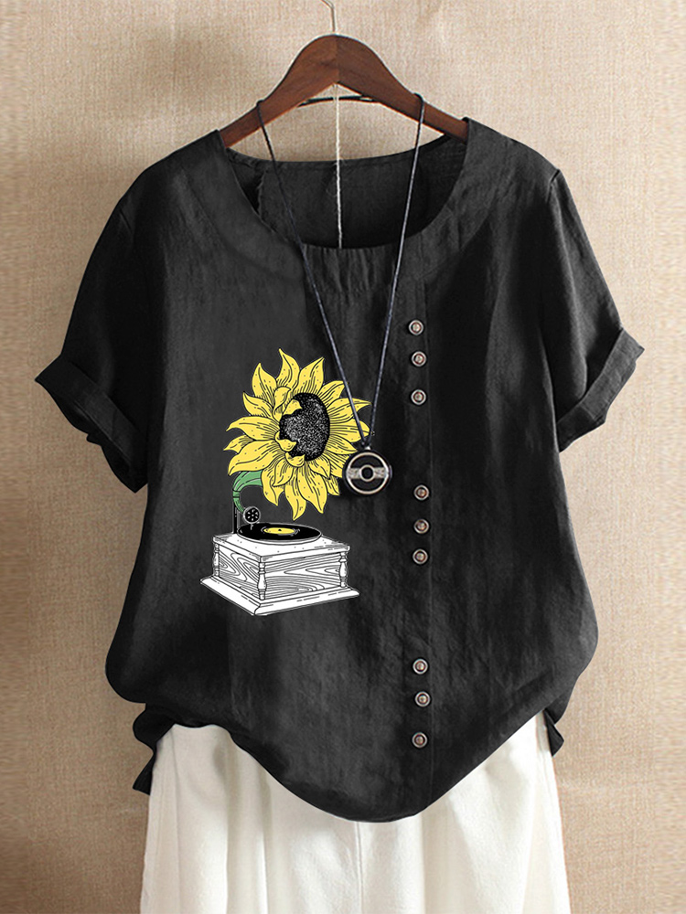 Casual Print Sunflower O-neck Short Sleeve Button T-Shirts