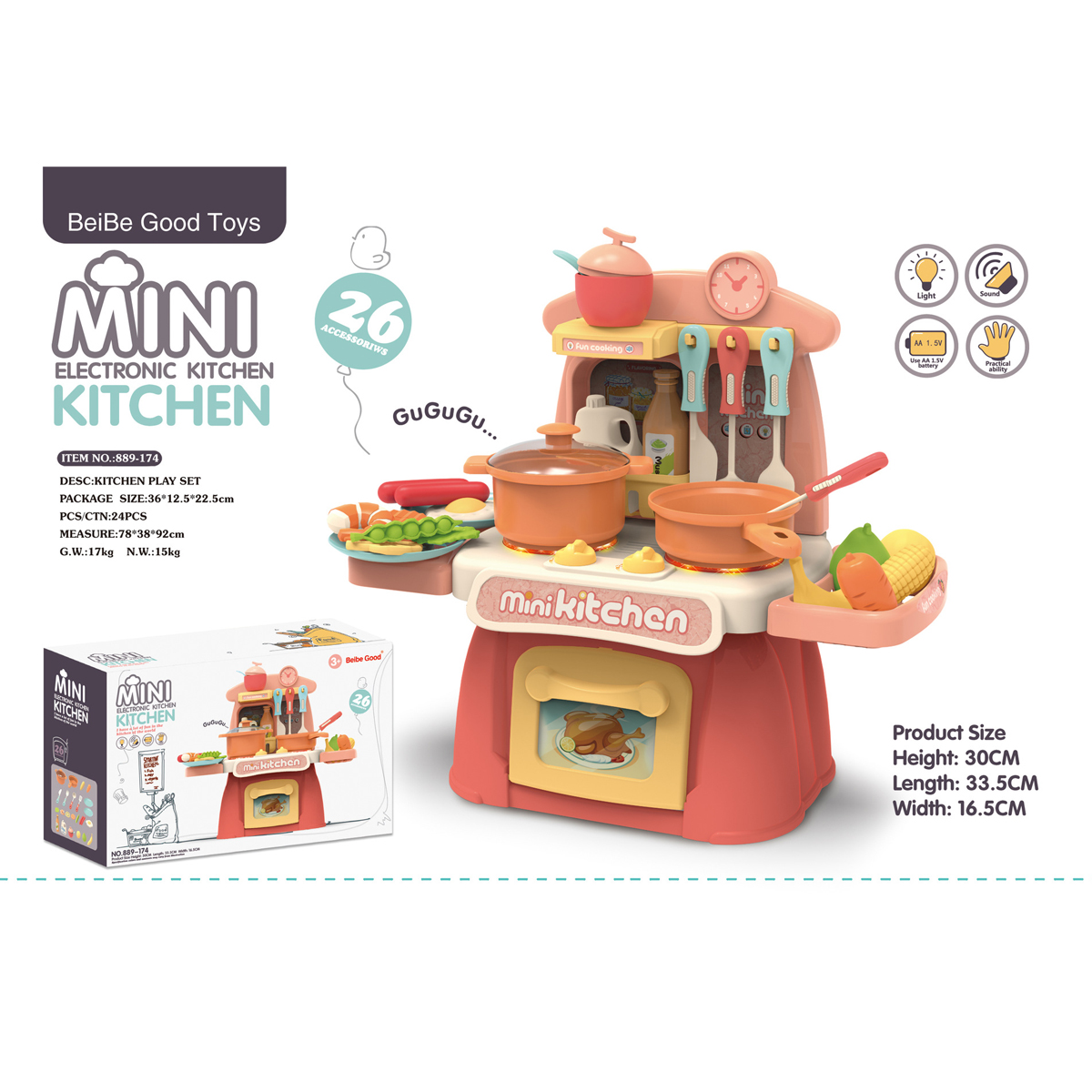 26 IN 1 Kitchen Playset Multifunctional Supermarket Table Toys for Children's Gifts - Photo: 3
