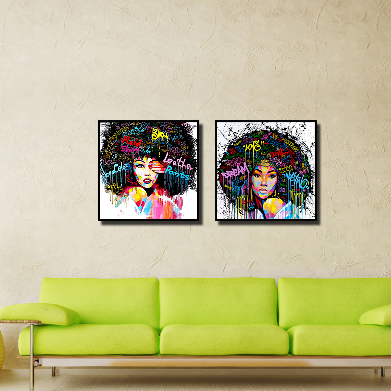 Miico Hand Painted Combination Decorative Paintings Girl Portrait Wall Art For Home Decoration