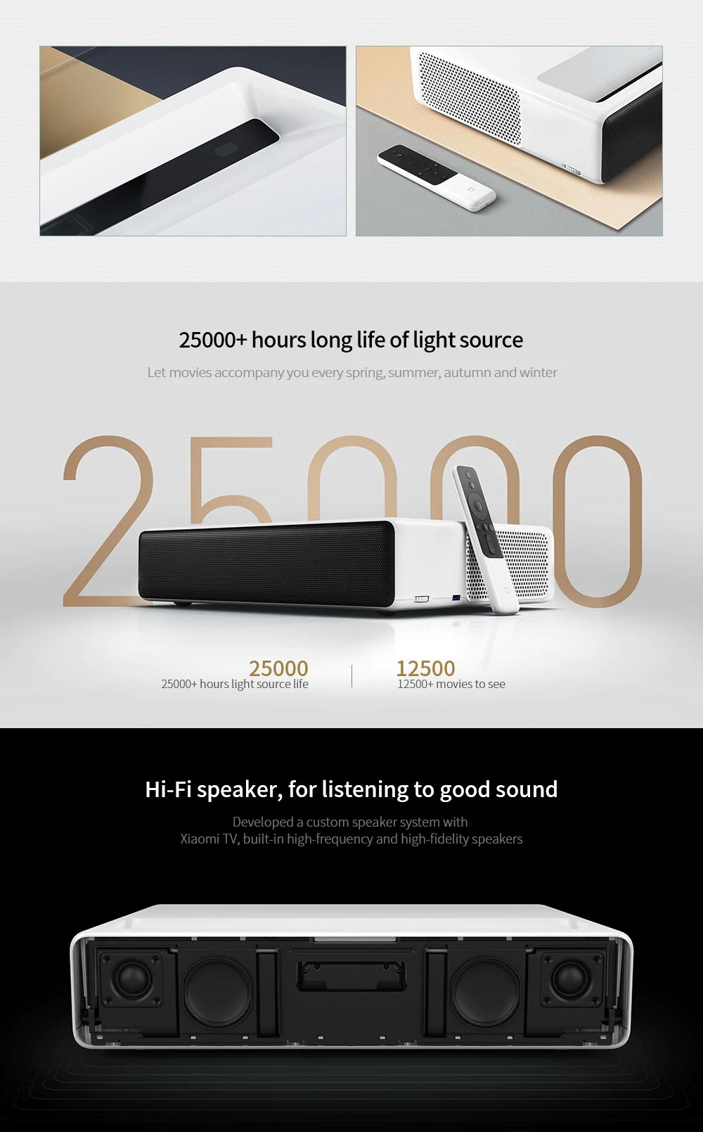 Xiaomi Mi MIJIA Laser Projector 5000 Lumens Android 6.0 ALPD 3.0 4K 2GB 16GB bluetooth Prejector English Version