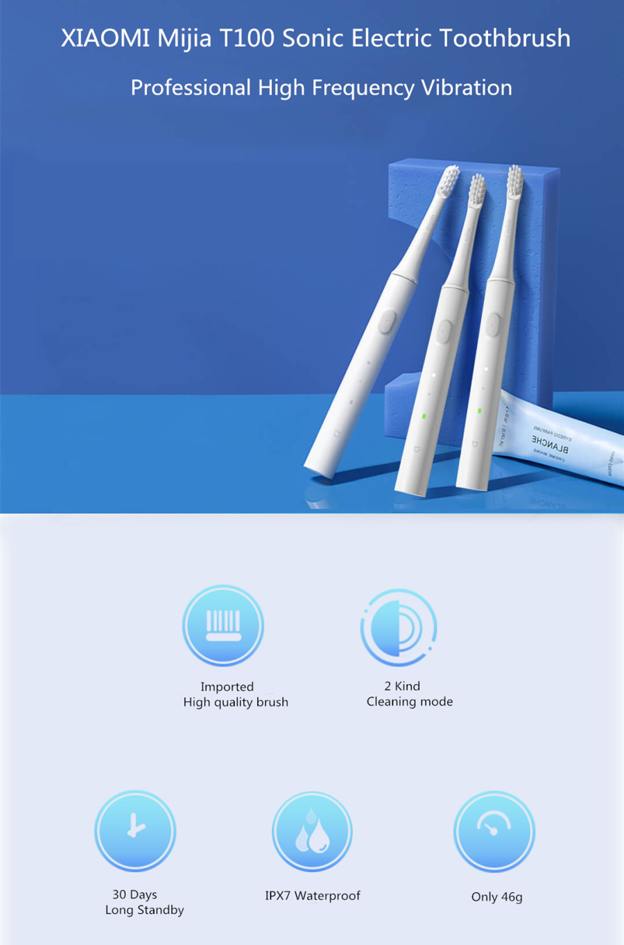 [Newest Version] Original Xiaomi Mijia T100 Mi Smart Electric Toothbrush 46g 2 Speed Xiaomi Sonic Toothbrush Whitening Oral Care Zone Reminder