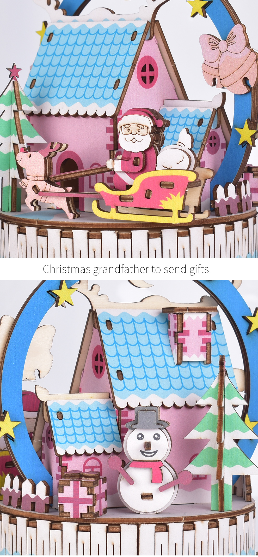 Iiecreate DIY Assembled Christmas Eve and Thanksgiving Christmas Music Box Doll House Model Toy - Photo: 6
