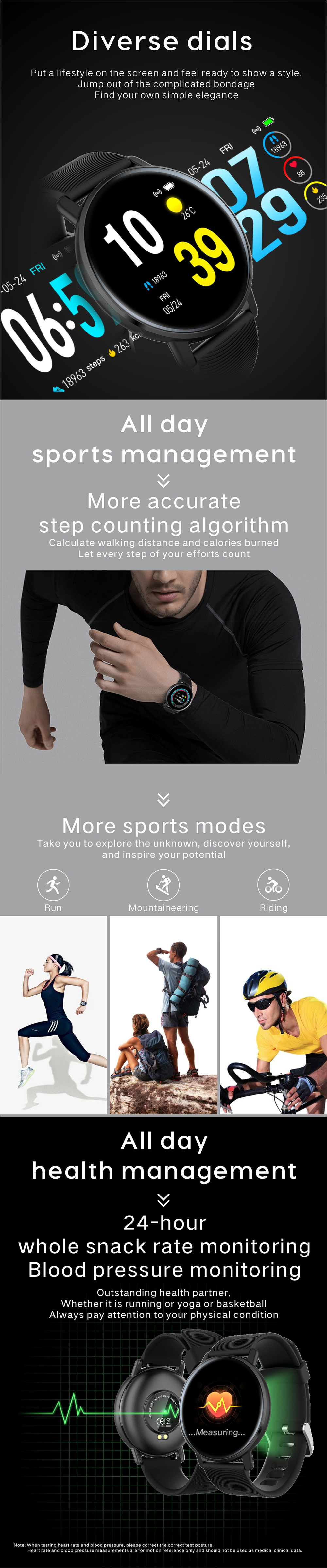 Bakeey H5 1.3inch Full Touch 2.5D Color Screen Heart Rate Blood Pressure O2 Monitor Weather Push Music Control Ultra-light Smart Watch