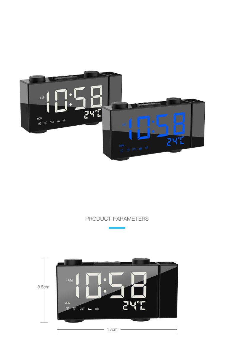 H8 Projection Clock Creative Alarm Clock Laser Multifunction Digital Clock FM Radio Clock