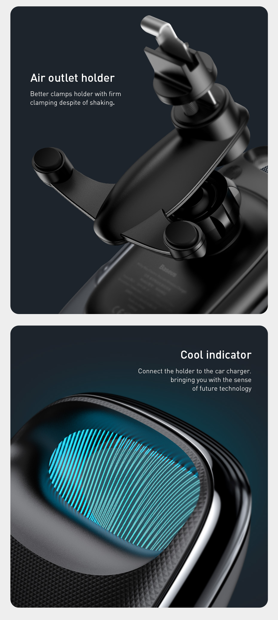 Baseus 15W LED Intelligent Auto Lock Electric Bracket Stable Wireless Car Charger Quick Charge Phone Holder for iPhone 11 Pro Max for Samsung S10+ S9 HUAWEI P30 Pro Xiaomi M9 Redmi K30 LG Numia