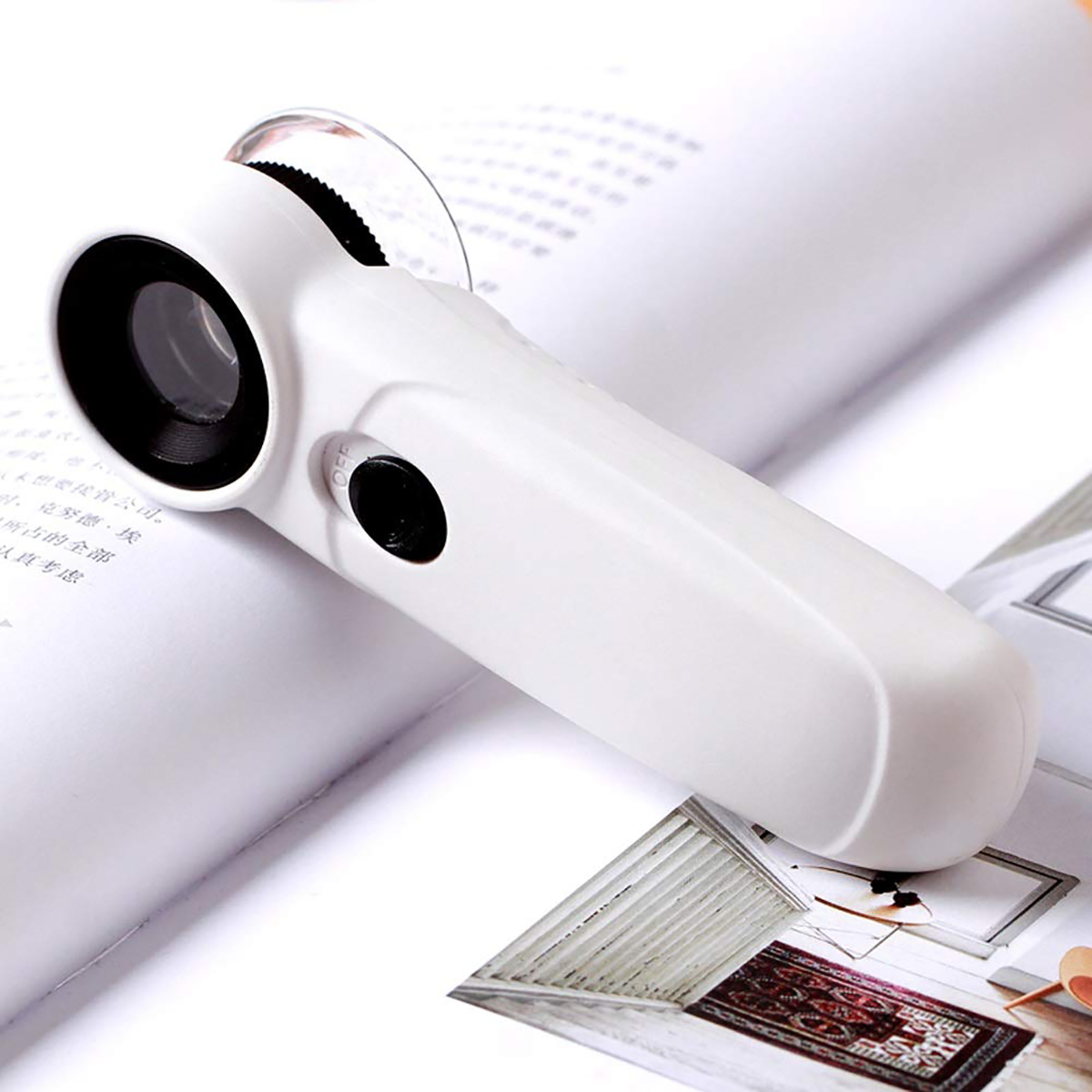 Portable HD Magnifier 45x with LED Light Handheld Identification Jewelry Jade Magnifier