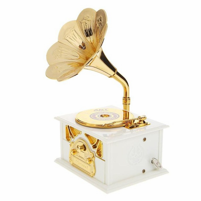 Wooden Metal Hand Crank Retro Phonograph Music Box for Kids Home Ornaments - Photo: 4