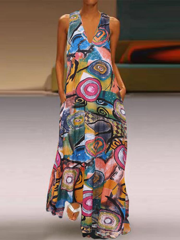Women Casual Art Print V-Neck Sleeveless Dress