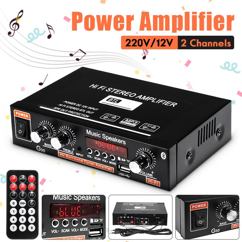 2CH LCD Display HIFI Audio Stereo Power Amplifier Bluetooth FM Radio Car Home Remote Control
