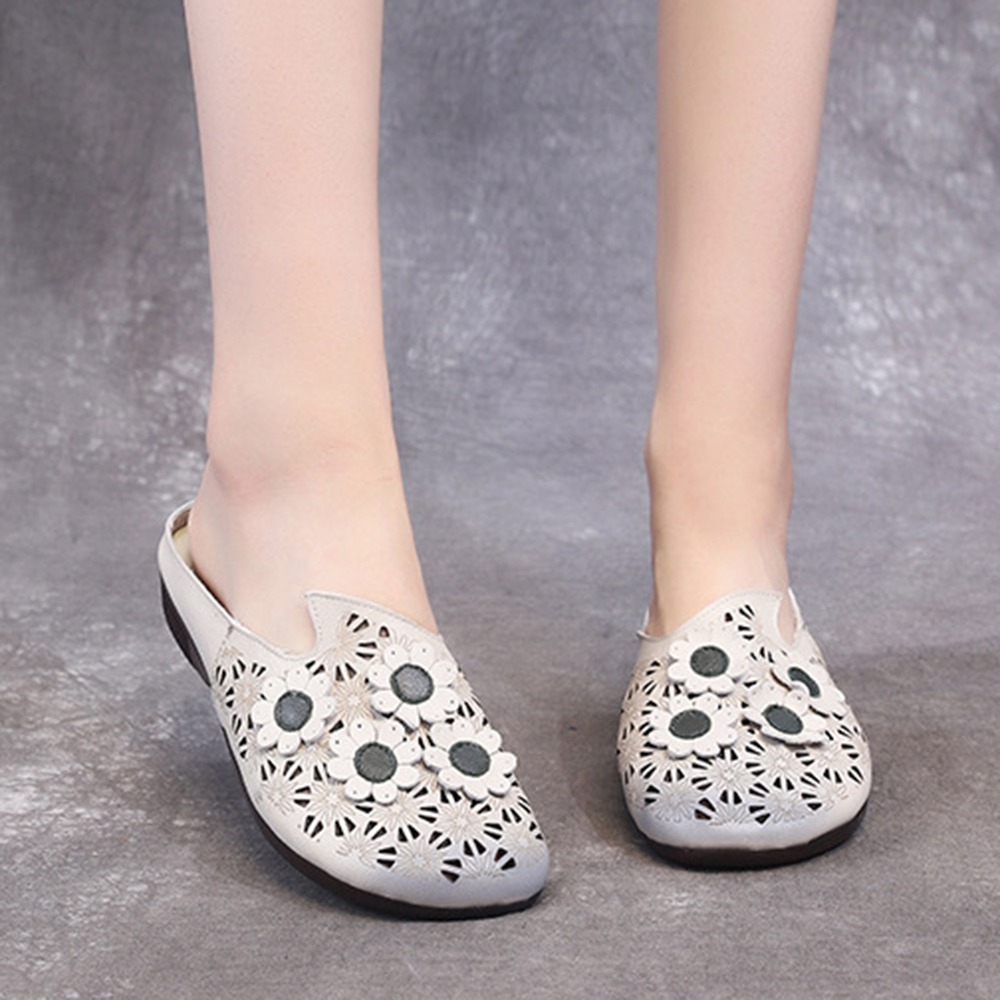 Women Comfy Soft Leather Hollow Flowers Backless Flats