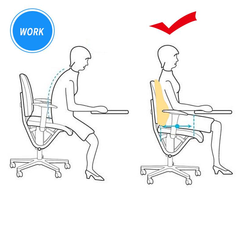 Memory Foam Seat Chair Lumbar Back Support Cushion Pillow