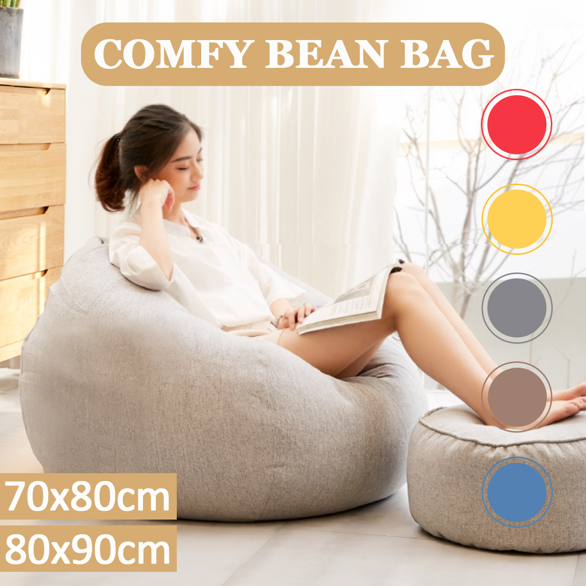 2 Sizes Large Bean Bag Chair Couch Sofa Covers Indoor Lazy Lounger For Adults Baby Seats Protector