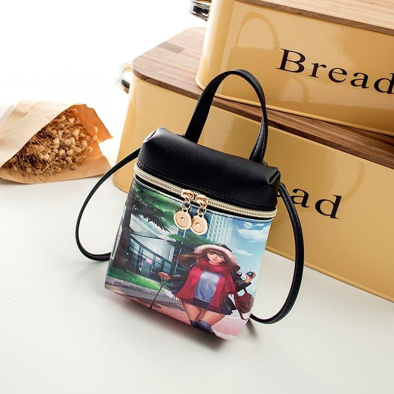 Women Cartoon Printing Fashion Backpack Crossbody Bag
