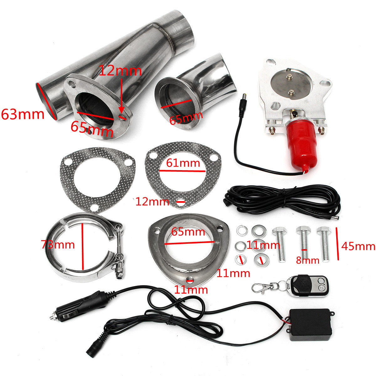 Electric Exhaust Valves Catback Downpipe Systems Kit Remote Intelligent E-Cut Muffler