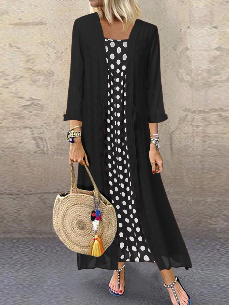 Polka Dot Straps Cardigan Two-piece set Maxi Dress