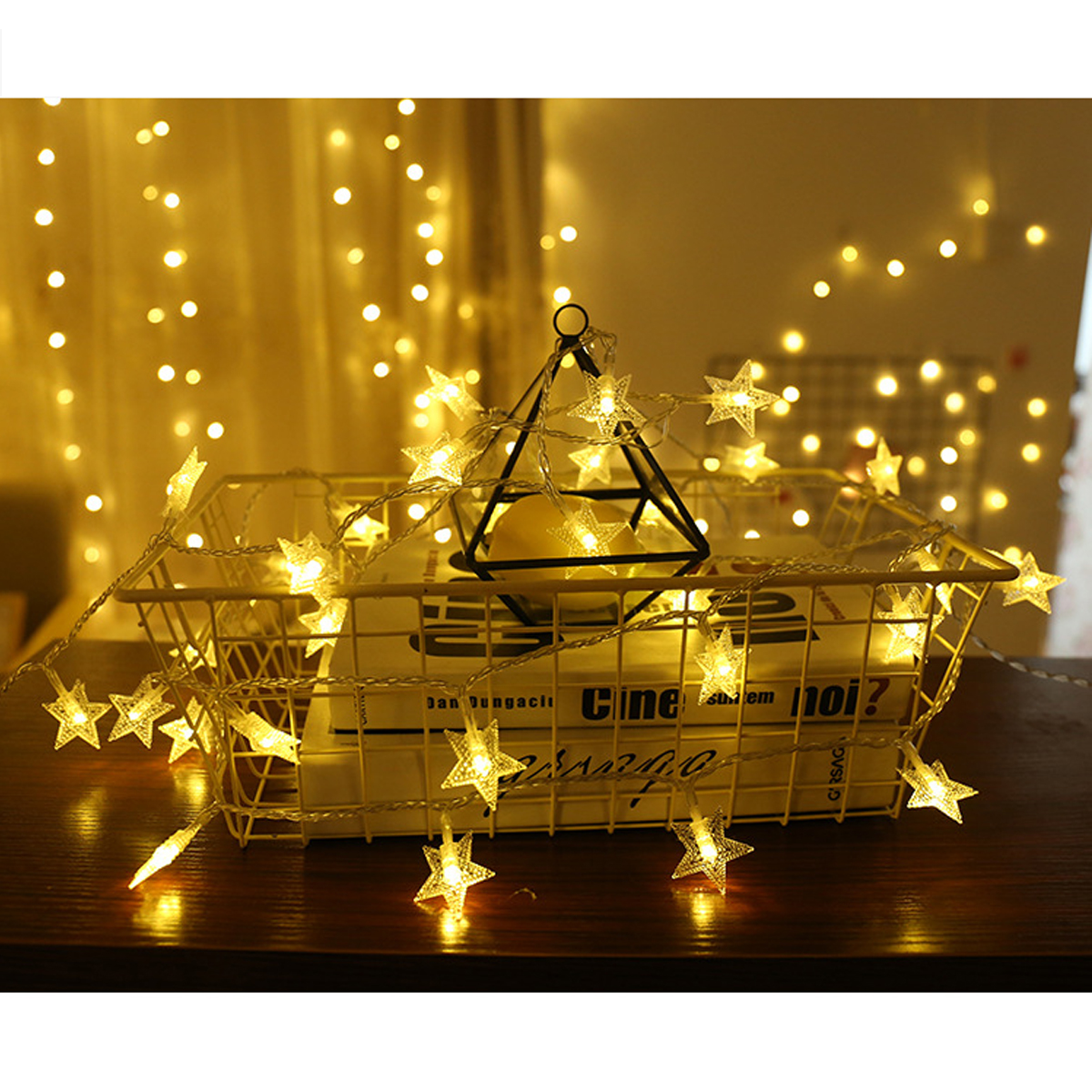 Battery Powered Five-pointed Star LED String Light Christmas Fairy Curtain Light for Home Party Decoration