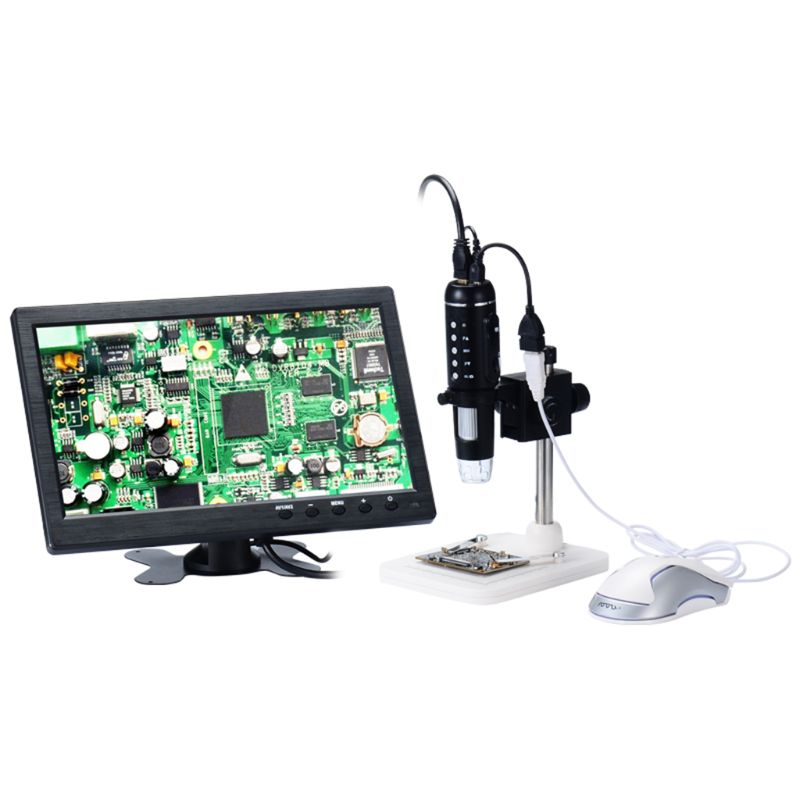 H1 1000X Digital 5MP HD 1080P Adjustable Lumen 8LED Light Microscope Camera Magnifier with Base Stand US Plug Support Mouse