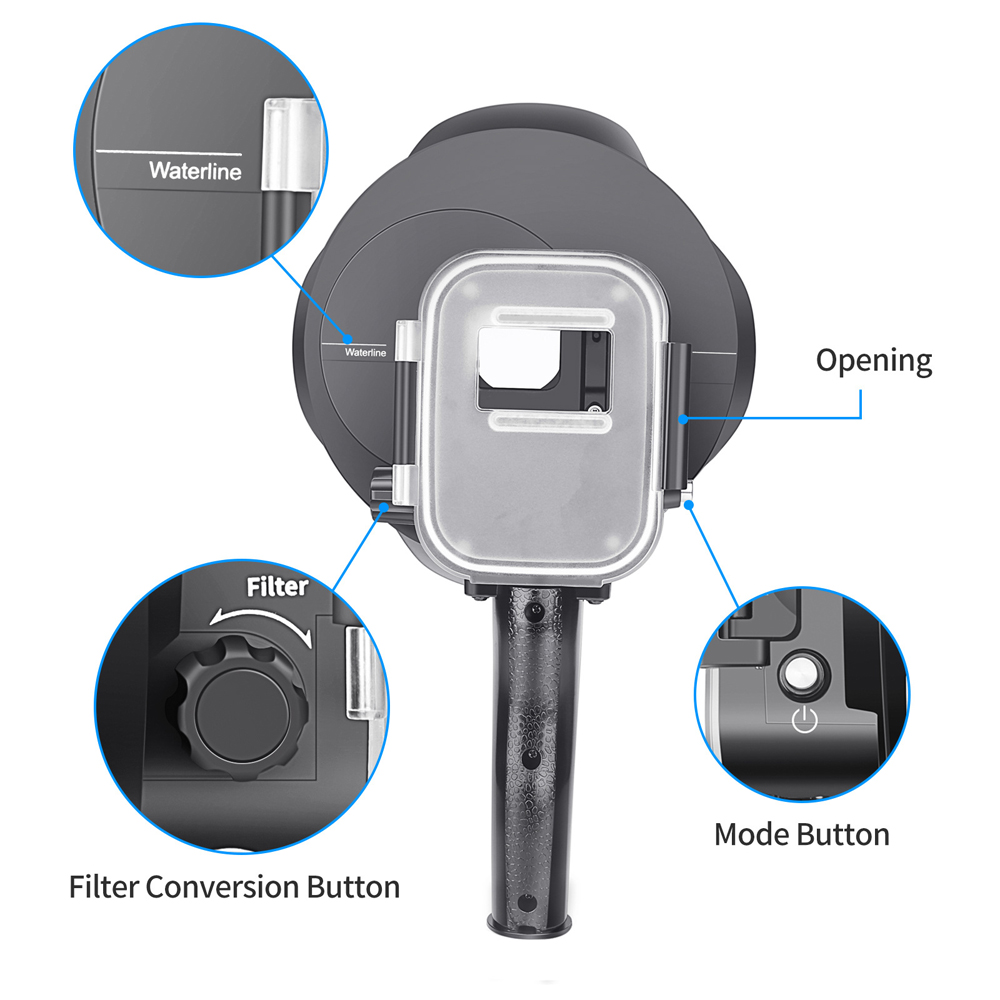 Shoot 40m Diving Dome Action Camera Waterproof Case Dome Port Fish Eyes Lens for Gopro Hero 7 5 6 4 FPV Action Camera - Photo: 4