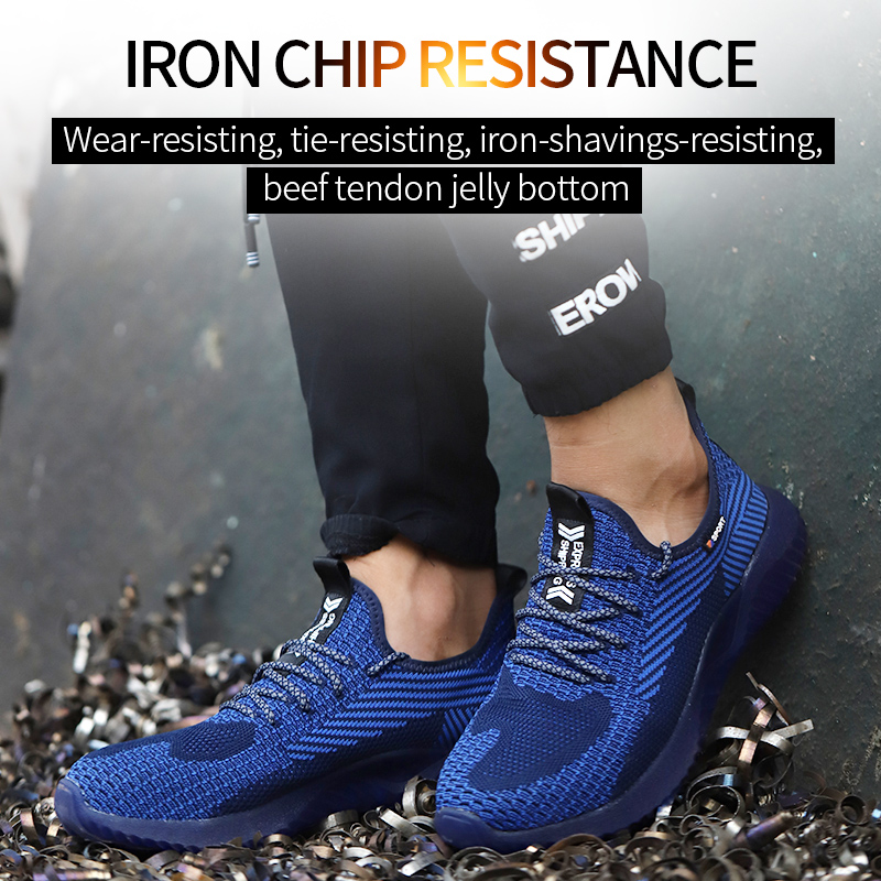 AtreGo Men Steel Toe Work Shoes Safety Trainers Anti-smash Shoes Mesh Breathable Casual Hiking Shoes