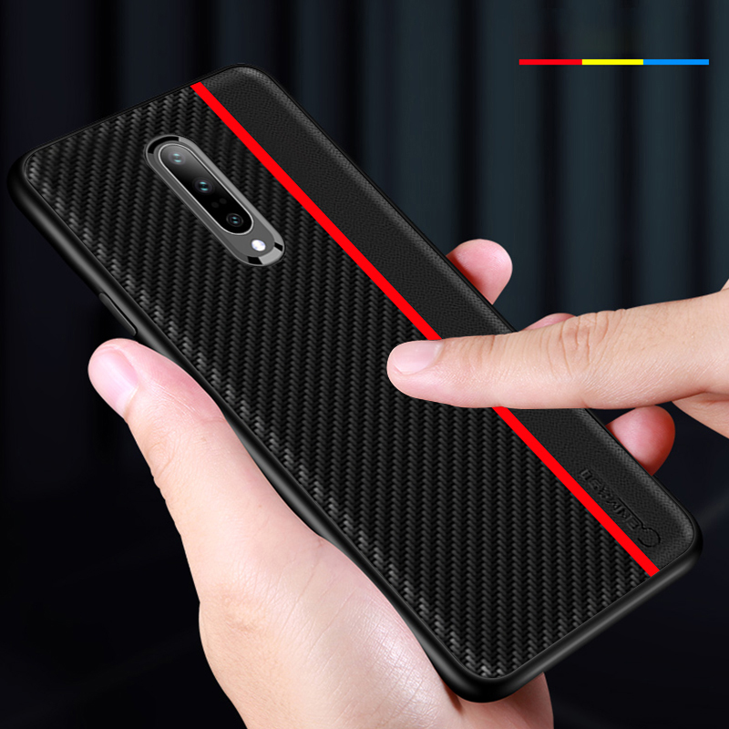 Bakeey Shockproof Carbon Fiber Soft Silicone Edge PU Leather Protective Case for OnePlus 7 Pro