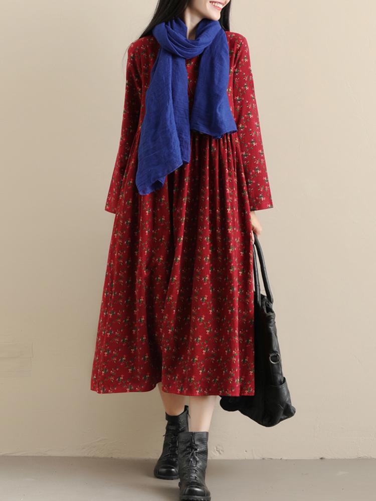 Pockets Floral Print Vintage Dress