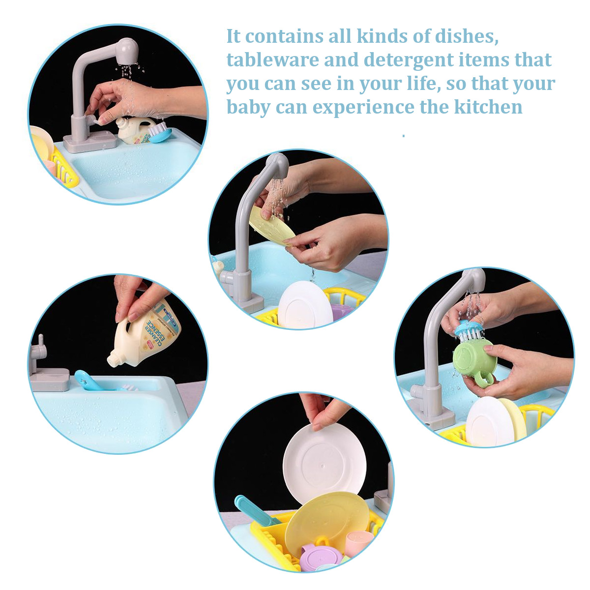 Children Plastic Simulation Electric Dishwasher Sink Pretend Play Kitchen Toys Kids Puzzle Early Education Toy