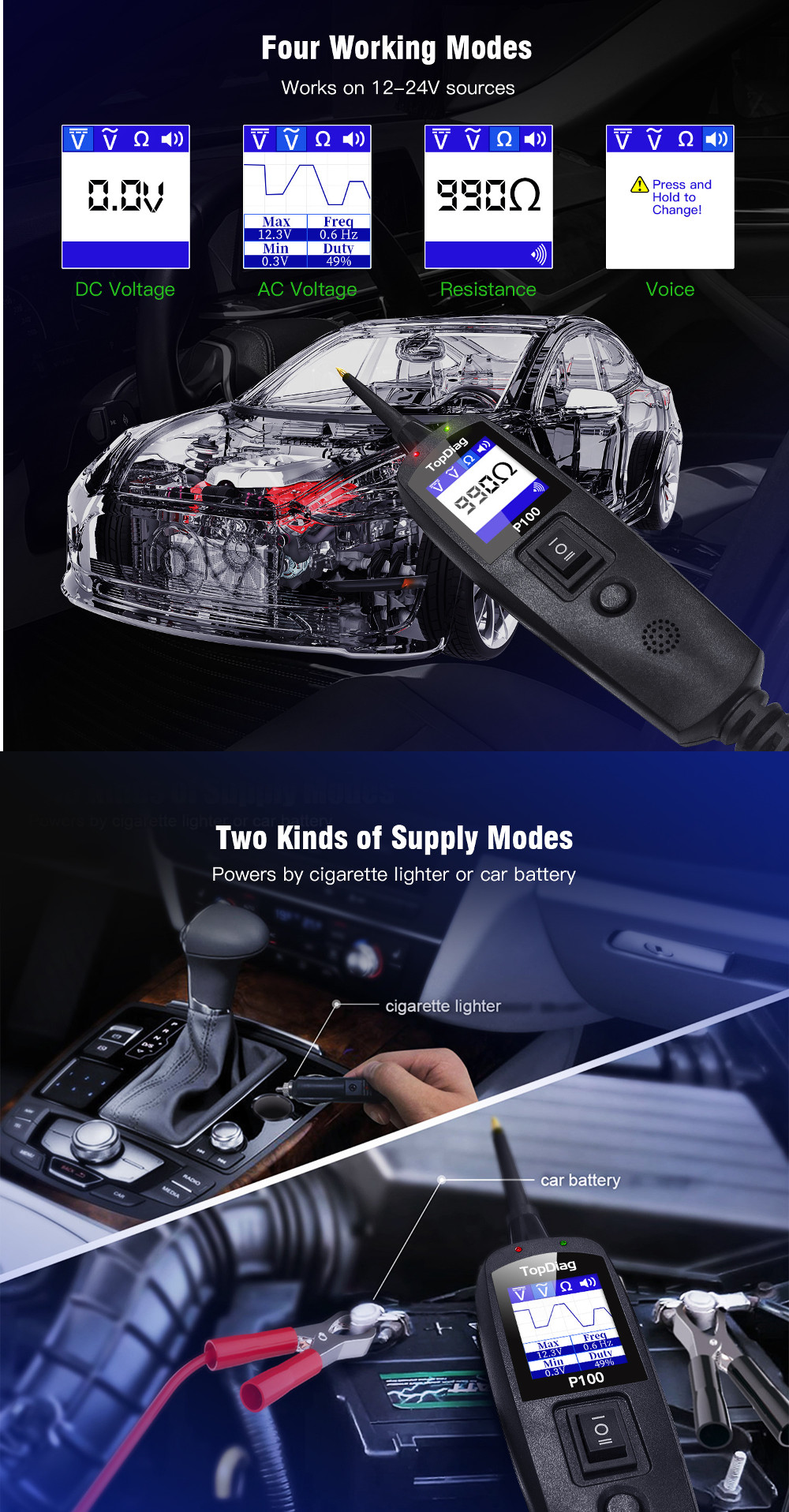 JDIAG P100 Power Probe Circuit Tester Electrical System Automotive Car Diagnostic Tool Scanner